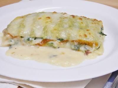 Lasaña de espinacas y queso